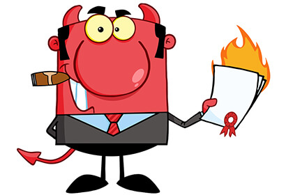 A devil is Holding a flaming-Contract for a loan, leasing a car issues