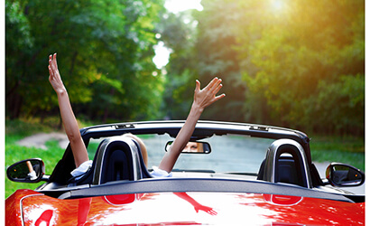Beautiful Young Blond Woman-Driving away in convertible, zcarlease