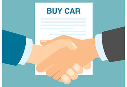 cartoon of shaking hands in front of a contract that says buy car
