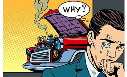 a cartoon of a man crying over a broken down car